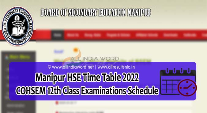 COHSEM Time Table 2022 Download